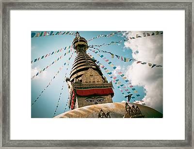 Boudhnath Stupa In Nepal Framed Print by Raimond Klavins