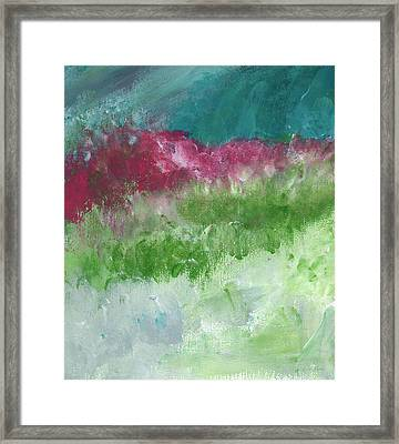 Bougainvillea- Contemporary Impressionist Painting Framed Print by Linda Woods