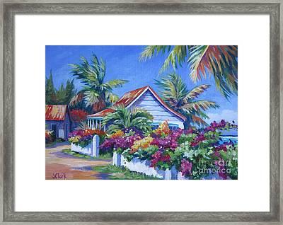Bougainvillea Cottage Framed Print by John Clark