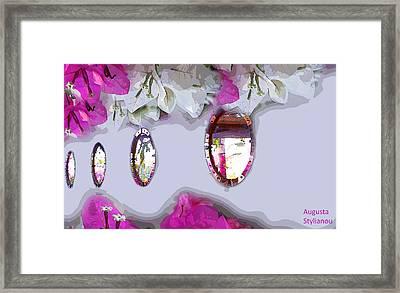 Bougainvilleas In Reflection Framed Print by Augusta Stylianou