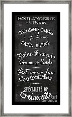 Boulangerie Menu Framed Print by Marion De Lauzun