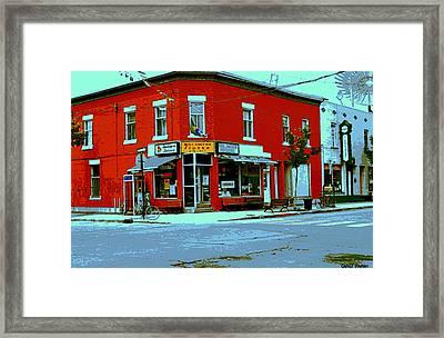 Boulangerie Patisserie Clarke Sandwich Shop Corner Depanneur Montreal Street Scene Art Framed Print by Carole Spandau