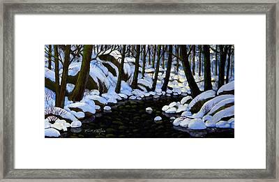 Boulder Brook In Winter Framed Print by Frank Wilson