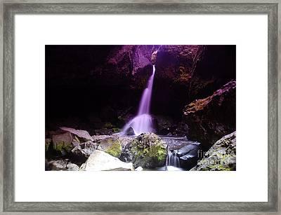 Boulder Cave Falls  Framed Print by Jeff Swan