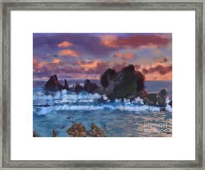 Boulder Coastal Beach Framed Print