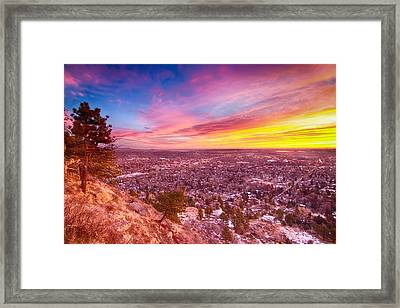 Boulder Colorado Colorful Sunrise City View Framed Print by James BO  Insogna