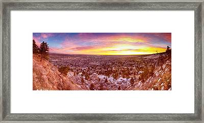 Boulder Colorado Colorful Sunrise Wide Panorama View Framed Print by James BO  Insogna