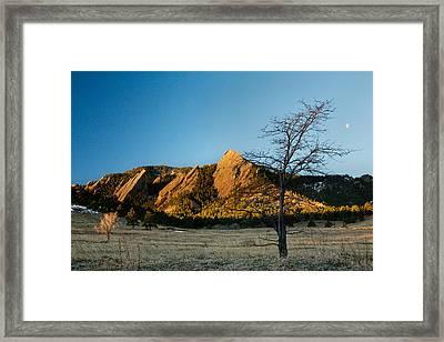 Boulder Colorado Flatirons Early Morning Light Framed Print