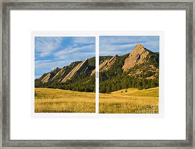 Boulder Colorado Flatirons White Window Frame Scenic View Framed Print by James BO  Insogna