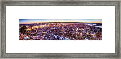 Boulder Colorado Panorama Sunrise Glow Framed Print by James BO  Insogna