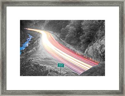 Boulder County Colorado Blazing Canyon View Bwsc Framed Print