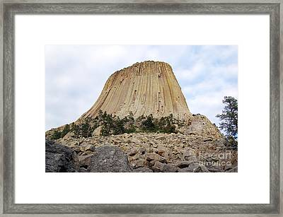 Framed Print featuring the photograph Boulder Field Beneath Devils Tower National Monument Wyoming Usa by Shawn O'Brien