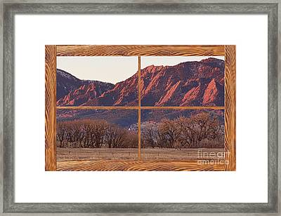 Boulder Flatirons Morning Barn Wood Picture Window Frame View Framed Print