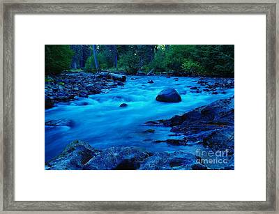Boulder In The Rapids  Framed Print by Jeff Swan
