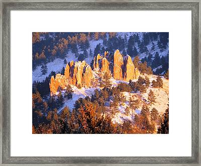 Boulder Red Rocks Glowing Framed Print