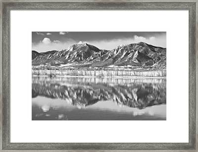Boulder Reservoir Flatirons Reflections Boulder Co Bw Framed Print by James BO  Insogna