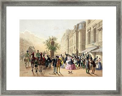 Boulevard Des Italiens From Physionomies De Paris Framed Print