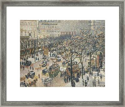 Boulevard Des Italiens Morning Sunlight Framed Print by Camille Pissarro