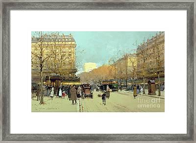 Boulevard Haussmann In Paris Framed Print by Eugene Galien-Laloue