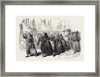 Boulogne Fishwomen Carrying The Luggage Of The Nurses Framed Print by English School