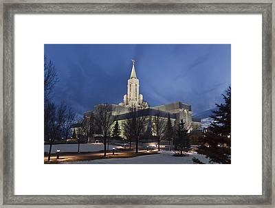 Bountiful Utah Temple In Winter Framed Print