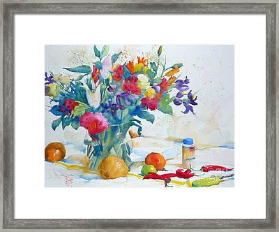 Bouquet And Red Peppers Framed Print by Andre MEHU
