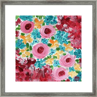 Bouquet- Expressionist Floral Painting Framed Print by Linda Woods