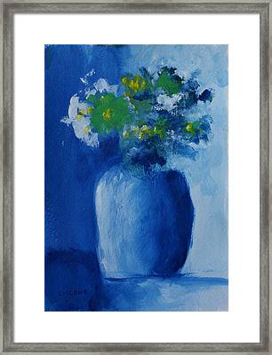 Bouquet In Blue Shadow Framed Print