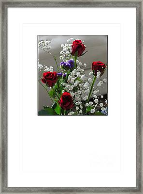 Bouquet In Red White And Blue Framed Print