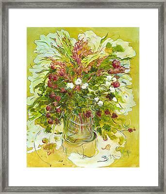 Bouquet Jaune - Original For Sale Framed Print by Bernard RENOT