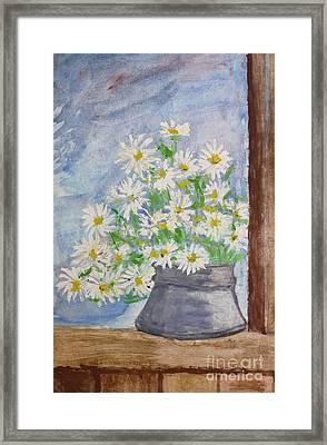 Bouquet Of Daisies Painting Framed Print by Kiril Stanchev