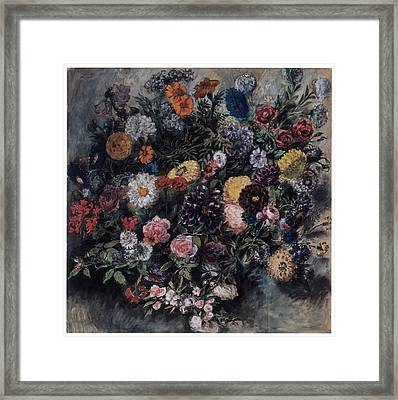 Bouquet Of Flowers Framed Print by Eugene Delacroix