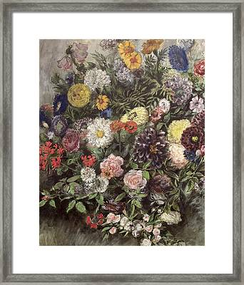 Bouquet Of Flowers Framed Print by Ferdinand Victor Eugene Delacroix