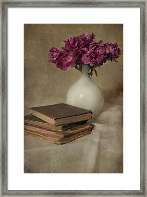 Bouquet Of Peonies And Old Books Framed Print