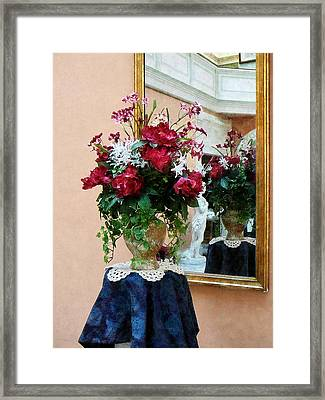 Bouquet Of Peonies With Reflection Framed Print by Susan Savad