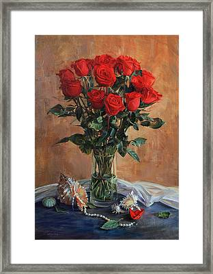 Bouquet Of Red Roses On The Birthday Framed Print