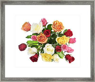 Bouquet Of Roses From Above Framed Print by Elena Elisseeva
