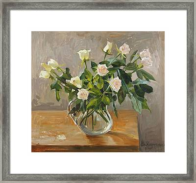 Bouquet Of Roses Framed Print by Victoria Kharchenko