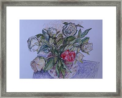Bouquet Roses Creme Framed Print by Agnieszka Praxmayer