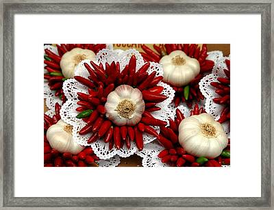 Bouquet With Wild Onion And Chili Framed Print