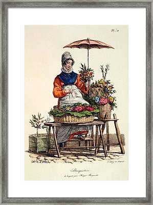 Bouquetiere Des Bouquets Pour Margot Framed Print by Carle Vernet