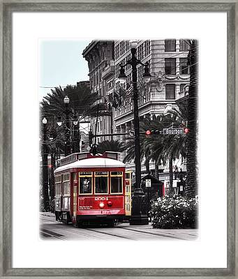 Bourbon And Canal Trolley Cropped Framed Print