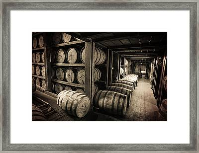 Bourbon Barrels Framed Print by Karen Varnas