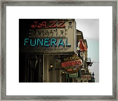 Framed Print featuring the photograph Bourbon Street Bar Signs In New Orleans by Ray Devlin