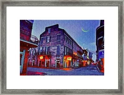 Bourbon Street - Crescent Moon Over The Crescent City Framed Print by Bill Cannon