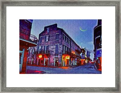 Bourbon Street - Crescent Moon Over The Crescent City Framed Print