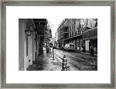 Bourbon Street Morning Mono Framed Print by John Rizzuto