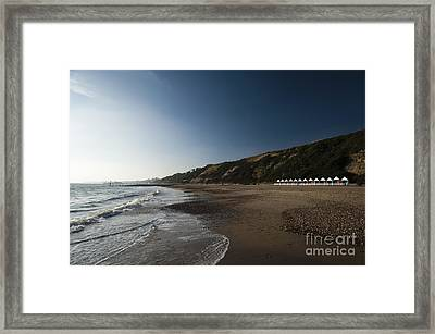 Bournemouth Beach Huts Framed Print by Anne Gilbert