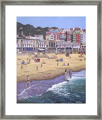 Bournemouth Boscombe Beach Sea Front Framed Print by Martin Davey