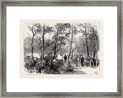 Bournemouth, View In Public Gardens, Engraving 1890, Uk Framed Print by English School